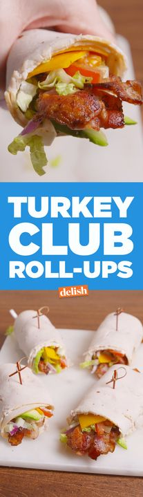 These low-carb Turkey Club Roll-Ups prove that no bread = no problem. Get the recipe from Delish.com.
