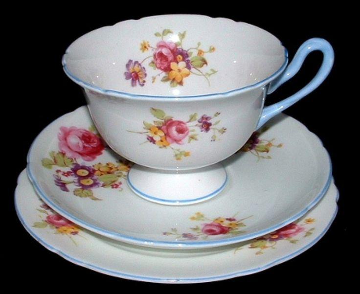 Shelley Cup Saucer Plate Gainsborough Floral Blue Trim Teacup Trio – Antiques And Teacups