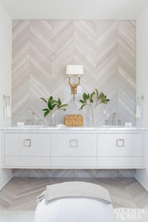 Herringbone tile, floating vanity   Melanie Turner   Atlanta Homes & Lifestyles