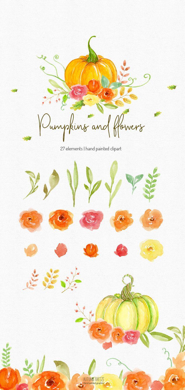 Autumn Clipart Watercolor Clipart Fall Clipart Pumpkin Clip Art