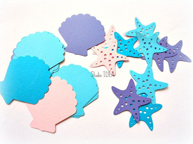Mixed Blue, Pink, Lavender Star Fish & Sea Shell Cut-outs- or Choose Your…