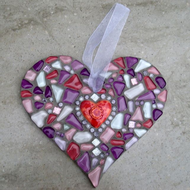 Pinks and Purples Mosaic Heart Hanging Ornament