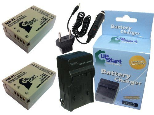 2x Pack - Canon NB-7L Digital Camera Battery and Charger Replacement with Car & EU Adapters (1500mAh, 7.4V, Lithium-Ion) - Compatible with Canon G12, G10, G11, PowerShot G12, PowerShot SX30 IS, PowerShot G10, PowerShot G11, SX30 IS, NB-7L, CB-2LZ, CB