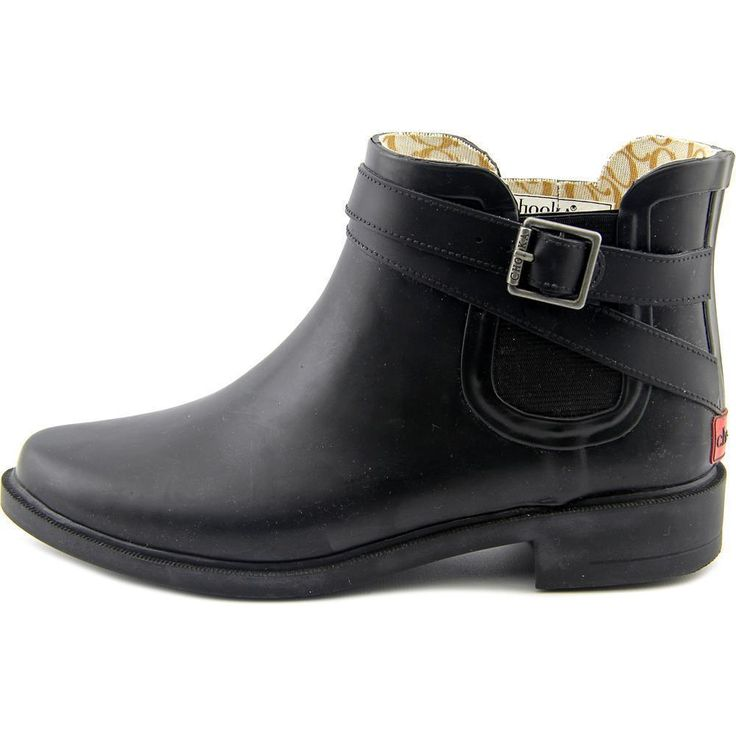 Chooka Double Strapped Chelsea Round Toe Rubber Rain Winter Boot Black Women 7 #Chooka #Rainboots #Casual