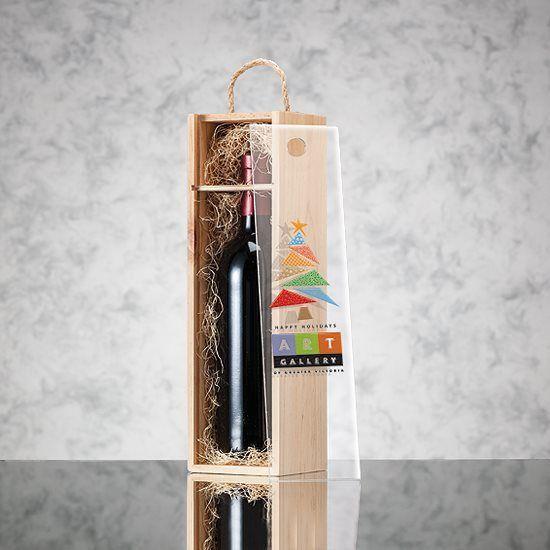 Cadeaux Tendance - Coffret en bois pour 1 bouteille de vin couvercle coulissant transparant