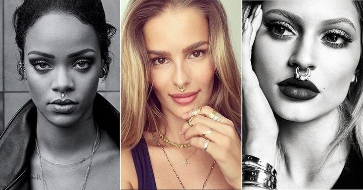 Sucesso nos anos 90 e 2000, os piercings no septo eram considerados ícones de transgressão. Hoje ele voltou, mas como um acessório fashion. Já foi usado por celebridades como Rihanna (à esq.), Yasmin Brunet (centro) e Kylie Jenner. A seguir, veja onde encontrar modelos falsos, de pressão, e verdadeiros, para septos perfurados