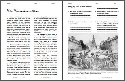 The Townshend Acts - Free Printable American History Reading with Questions for Grades 9-12