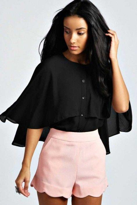 Black Cape Blouse, Australia Womens Fashion $40