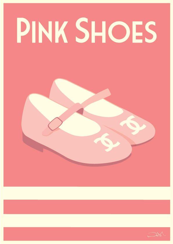 #pinkshoes #pink #cute #chanel #shoes #vintageart #vintageposters #childrensposters #artforkids #balletflats #design #illustration #pretty #alanwalsh #alanwalshart