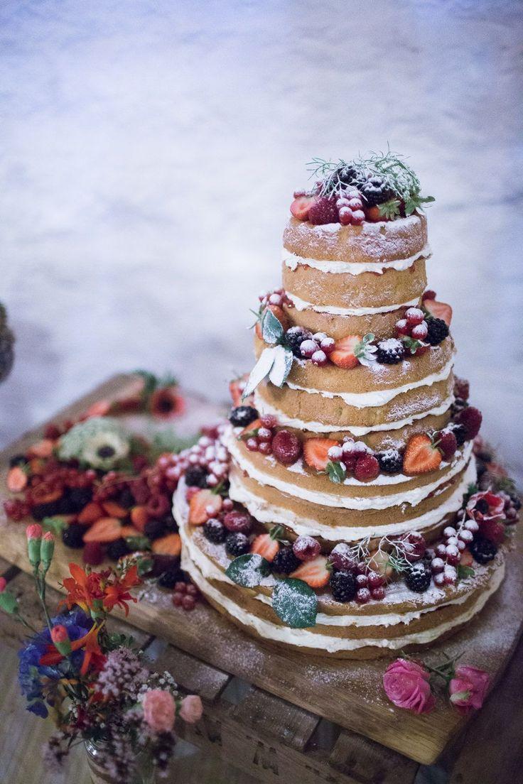 Naked Sponge Wedding Cake | East Riddlesden Hall Barn Wedding Venue in Yorkshire | Vintage Wedding Dress | Bright Florals | BHS Bridal Bridesmaid Dresses | Joe Stenson Photography | http://www.rockmywedding.co.uk/rebecca-jon/