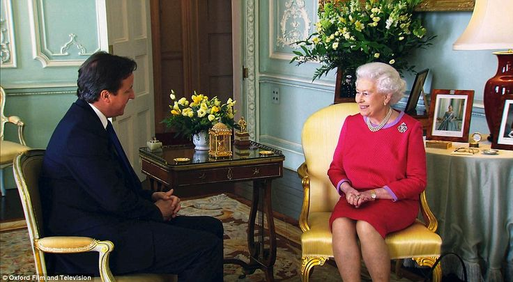 Power: The Queen at her weekly audience with the Prime Minister David Cameron at Buckingham Palace.