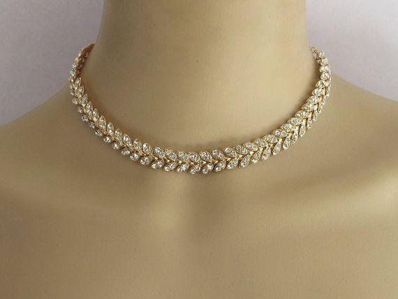 Gold Choker/ Necklace Jewelry/Wedding Rhinestone Necklace/ Rose Bridal…