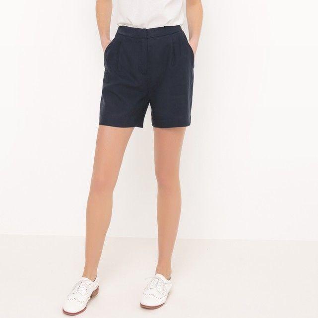 afbeelding Short met hoge taille in zuiver linnen R essentiel