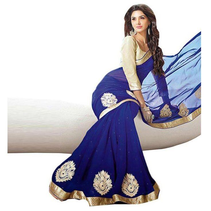 Georgette+Patch+Work+Blue+Saree+-+LC58 at Rs 650