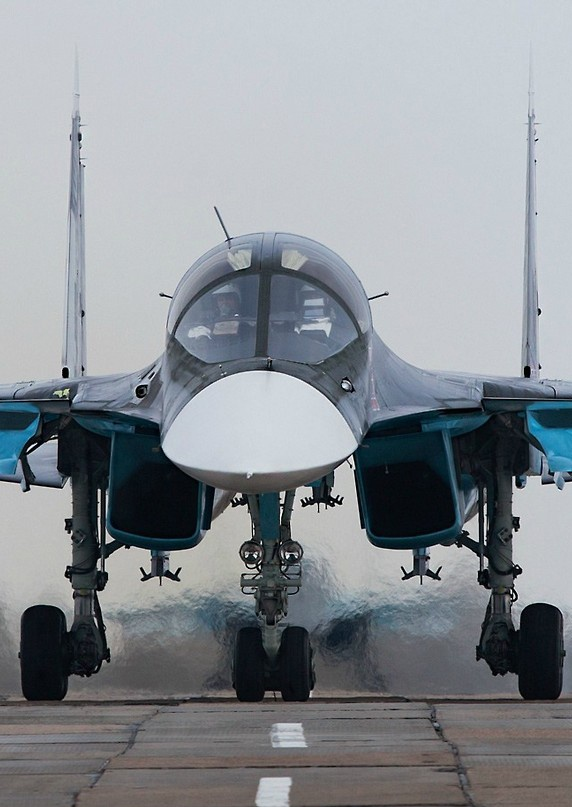 The Sukhoi Su-34 is a Russian twin-seat fighter-bomber.  It is intended to replace the Sukhoi Su-24. Based on the Su-27 Flanker, it is intended for high-precision strikes, including strikes with nuclear Su-34 (Su-32) Fullback Fighter Bomber.  First flight was on April 1990.