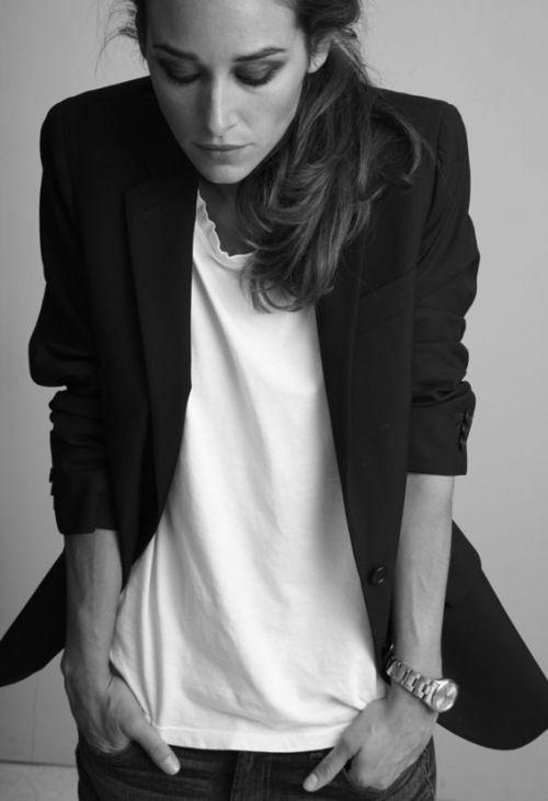 white tee + black blazer.