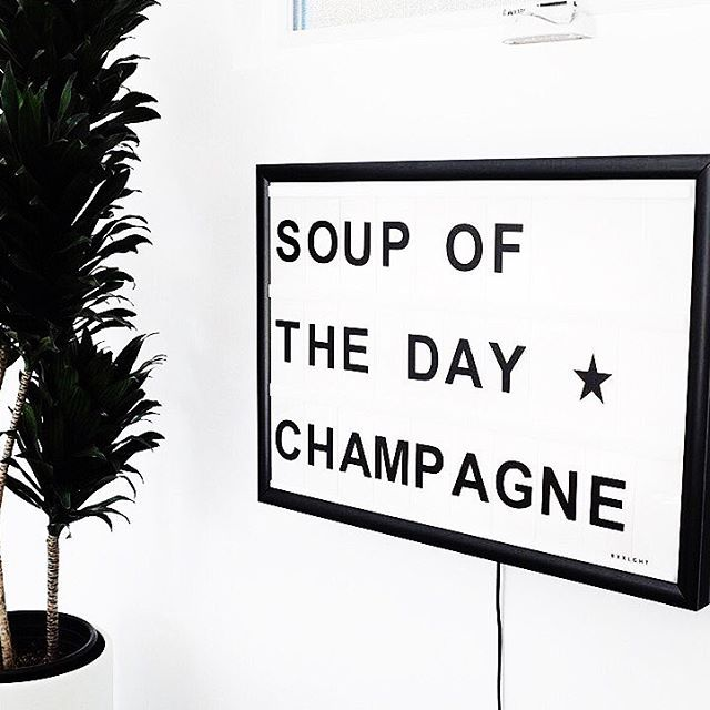 soup of the day, champagne