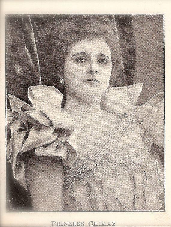 Royal Decadence, The Famous Princess of Caraman-Chimay Melancholic Glamour Portrait, Original Very Rare 1890s German Photo Postcard