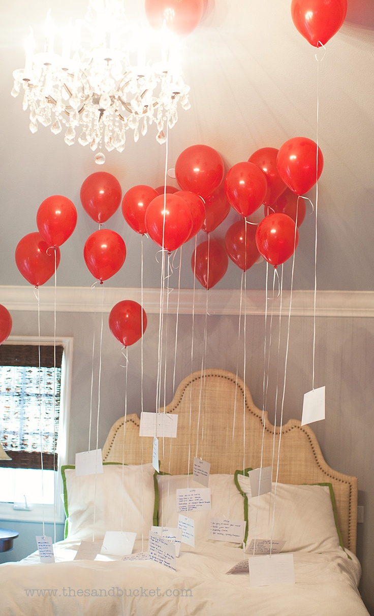 20 years, 20 balloons, each balloon had a card attached representing a year with a list of memories from that year.