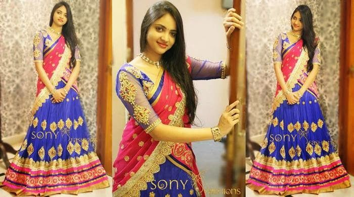 Pretty Girl in Purple Half Saree