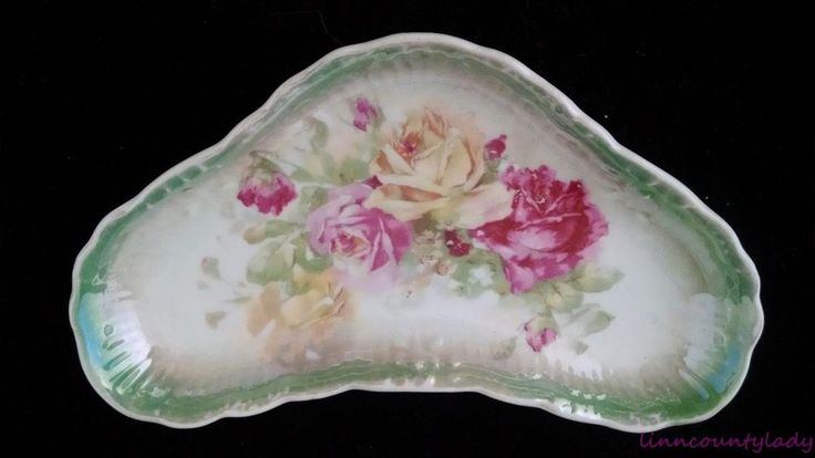 Gorgeous Vtg Green Bone Dish Pink Roses Victorian Dinnerware Scalloped FR SH #Unknown