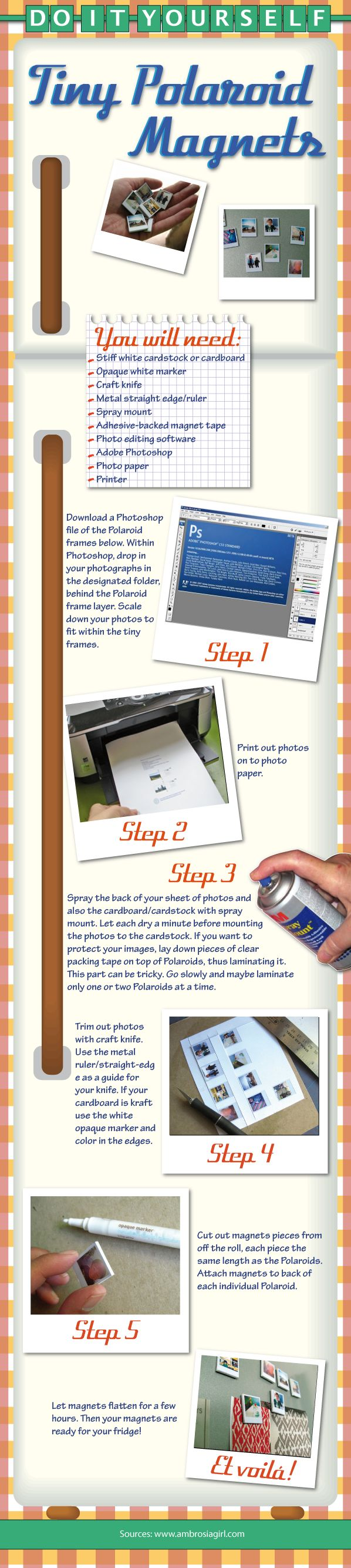 cover your refrigerator with tiny magnet photos that are customized with your family. Great diy project. You gotta have Photoshop for this diy craft work though. I am liking these instructorgraphics...very helpful.