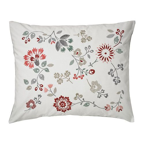 IKEA - HEDBLOMSTER, Cushion, , Embroidery adds texture and luster to the cushion.You can easily vary the look, because the two sides have different designs.The duck feather filling feels fluffy and gives your body excellent support.The buttons make the cover easy to remove.