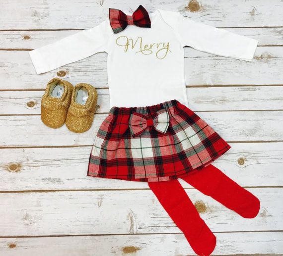 Merry Christmas Outfit with Plaid Skirt in Red Gold and Black, First Christmas Outfit Girl