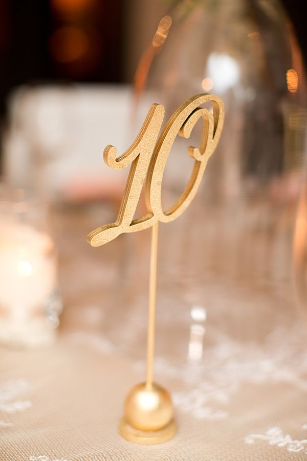 Gold Laser Cut table number // Real Wedding: Katie and Joseph   Southern Fried Paper Blog