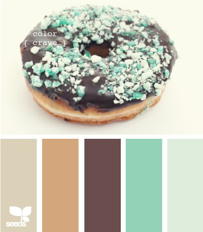 mmm... donuts. rich chocolate and lavish little turquoise sprinkles.
