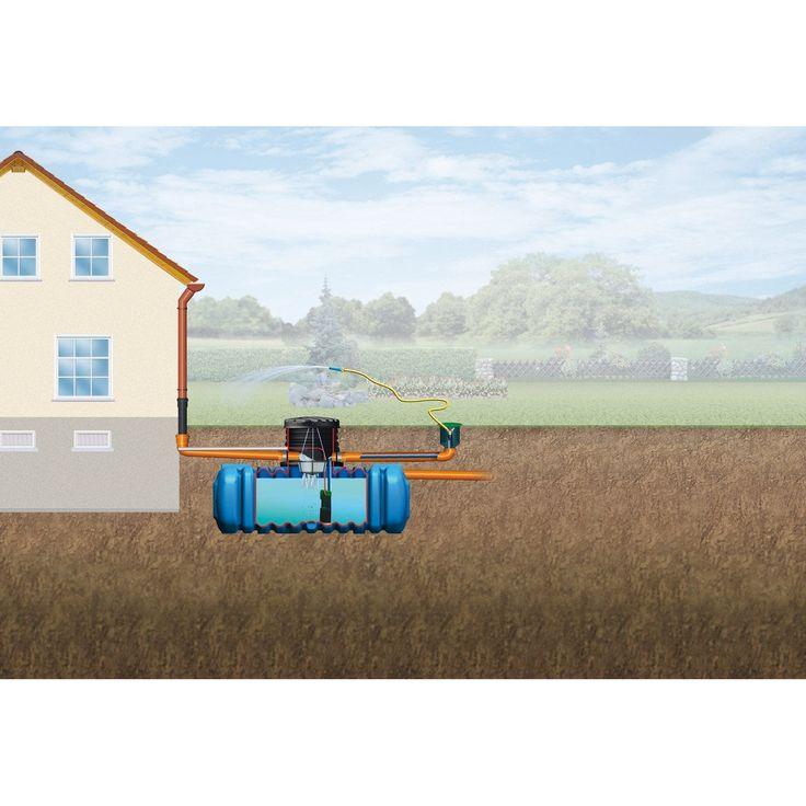 Cuve + accessoires récupération eau de pluie à enterrer Flat pour jardin 5000 l