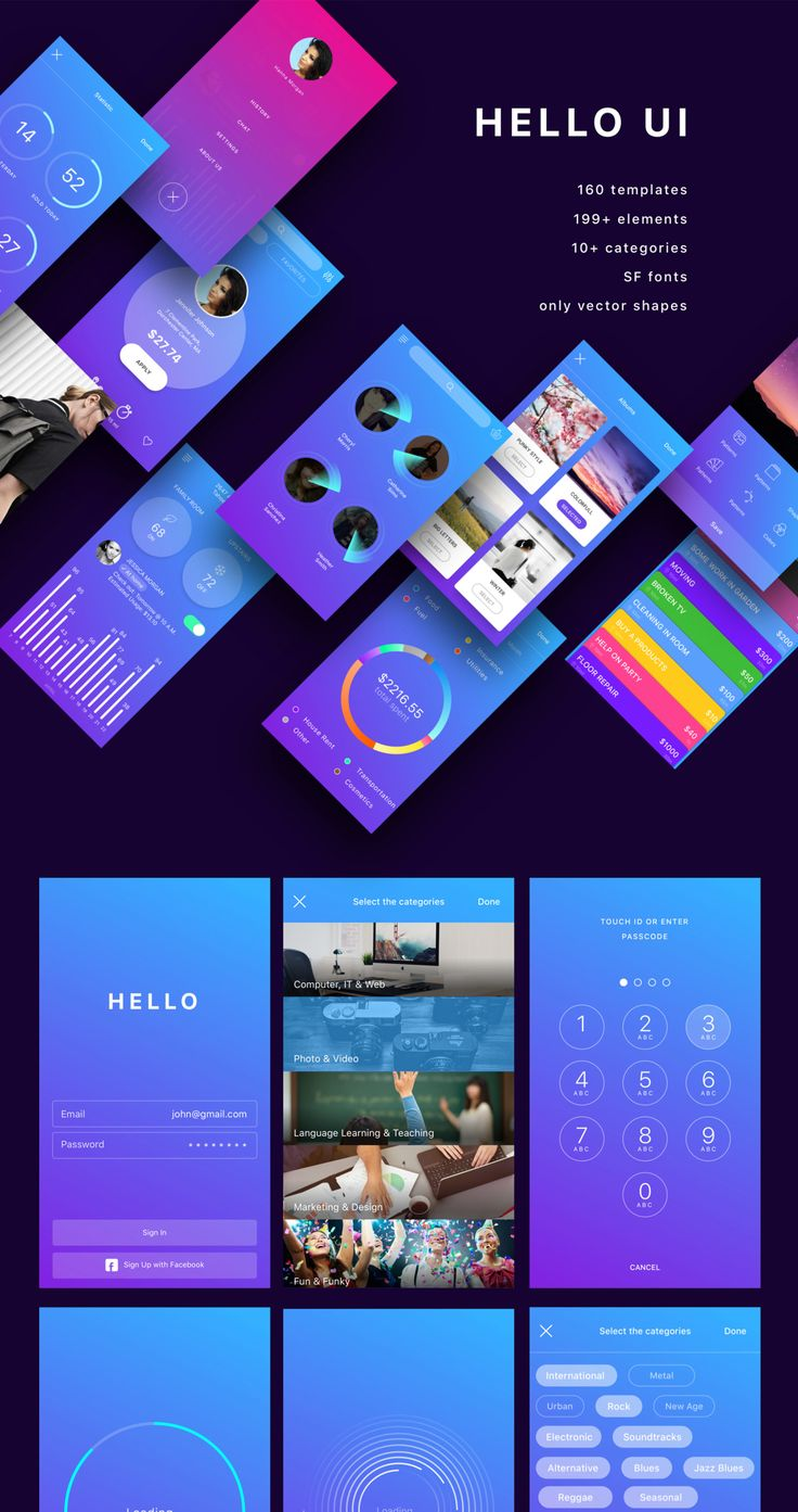 WOW! Hello UI Kit is live! This kit includes more than 160 unique screens, 700+ vectored custom UI elements for developers and iOS apps designers. All the elements, blocks and galleries can easily be combined. As all the objects are created using shapes. This set would be a great match for your app! Hello UI Kit was expertly crafted in Sketch.