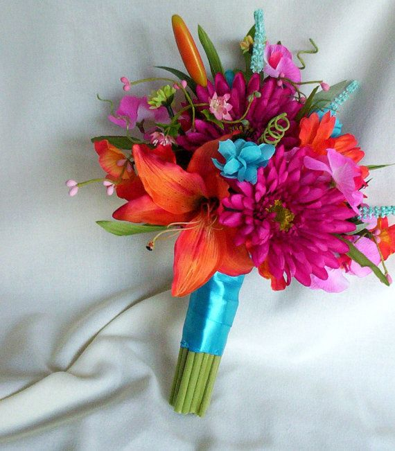 Beach Bouquet Malibu blue Silk ribbon and wedding flowers by AmoreBride. Love the colors