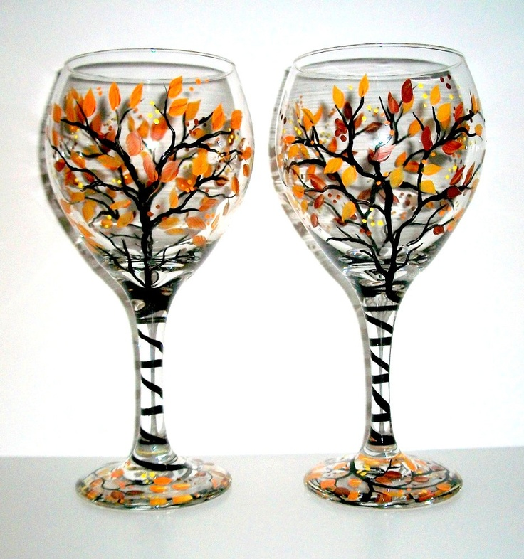 Handpainted Wine Glass Fall is in the Air ( SINGLE GLASS ) 1 / 20 oz Wine Glass handpainted. $25.00, via Etsy.