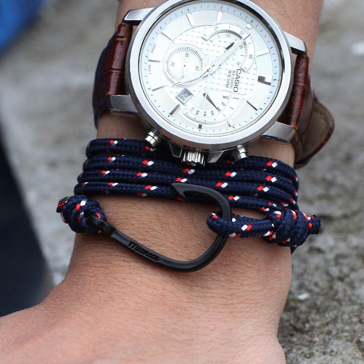 Men Bracelets bracelets Titanium Steel black anchor hand-rope lovers handmade Nylon rope bracelet Anchor Bracelets Bangle