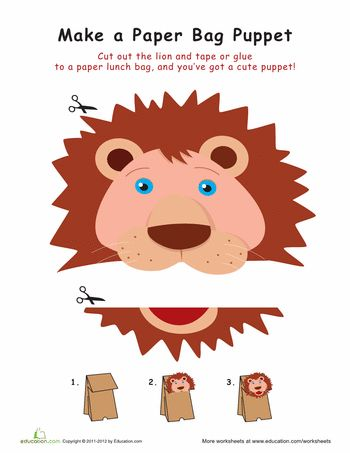 Worksheets: Lion Paper Bag Puppet