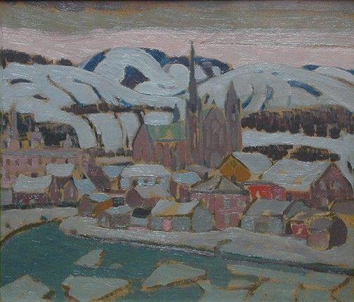 Albert H. Robinson - Winter Evening Baie St. Paul 11 x 14 Oil on panel