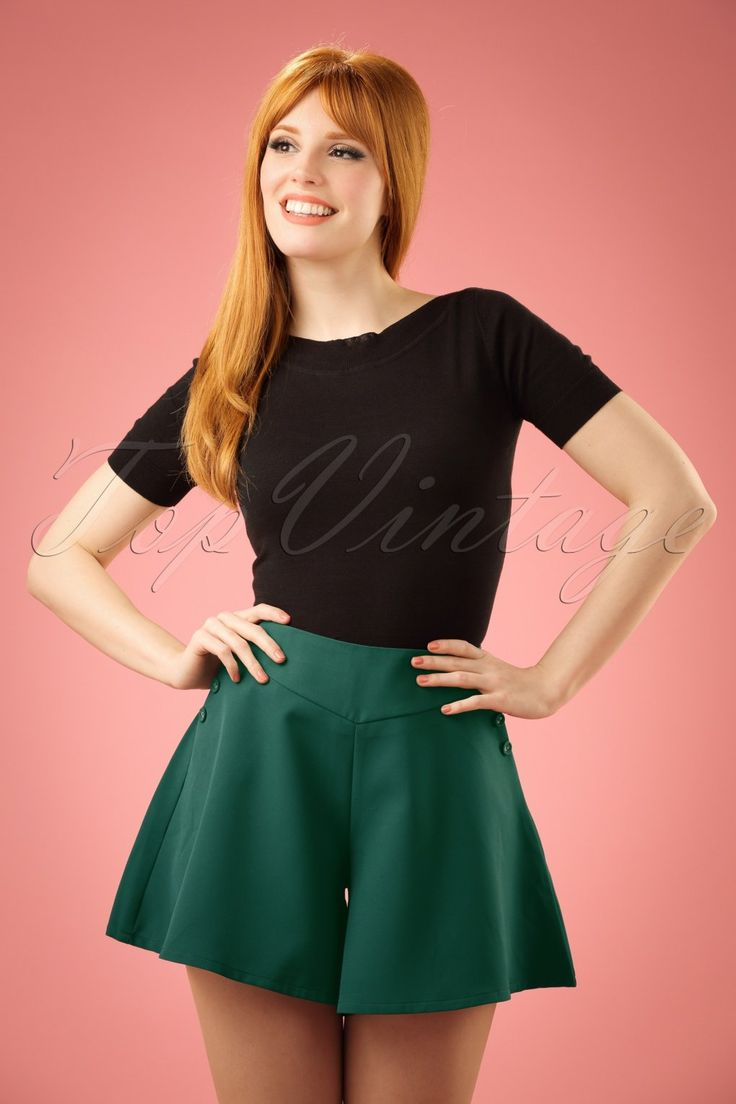 Vintage High Waisted Shorts, Sailor Shorts, Capris 50s Mira Swing Shorts in Teal Green £38.02 AT vintagedancer.com