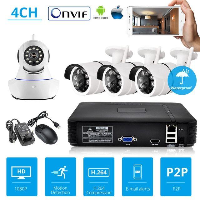 Kerui Security Camera System Nvr Kit Full Hd 4 Channel Security Cctv Nvr Onvif Wifi Security Camera System Wireless Home Security Systems Home Security Systems