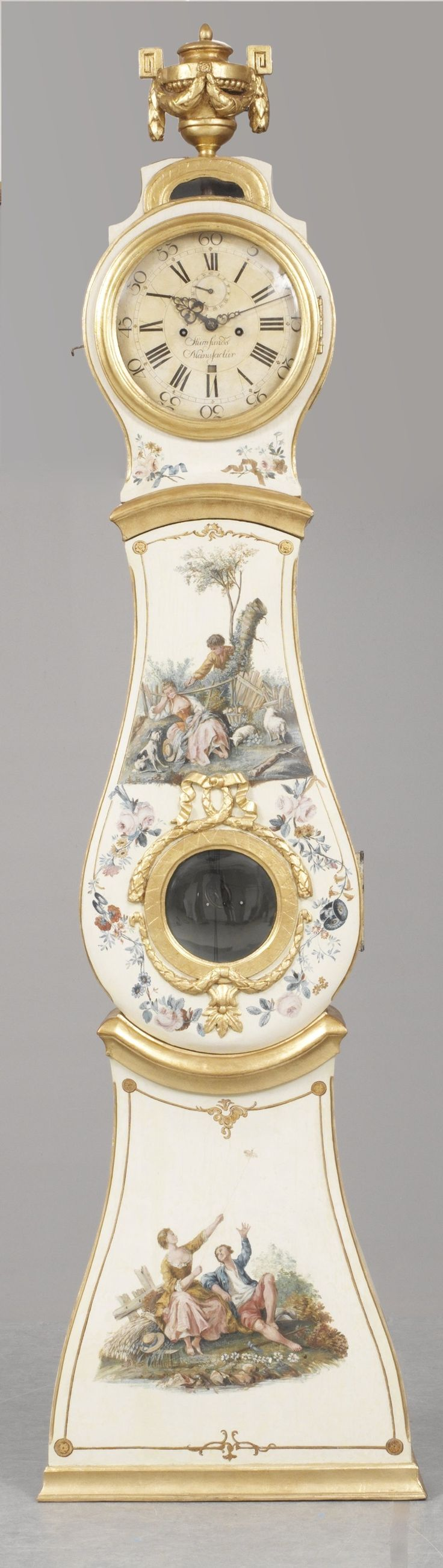 """Swedish tall clock from the Gustavian era (18th C). The clock face is marked """"Stiernsunds Manufactur""""."""