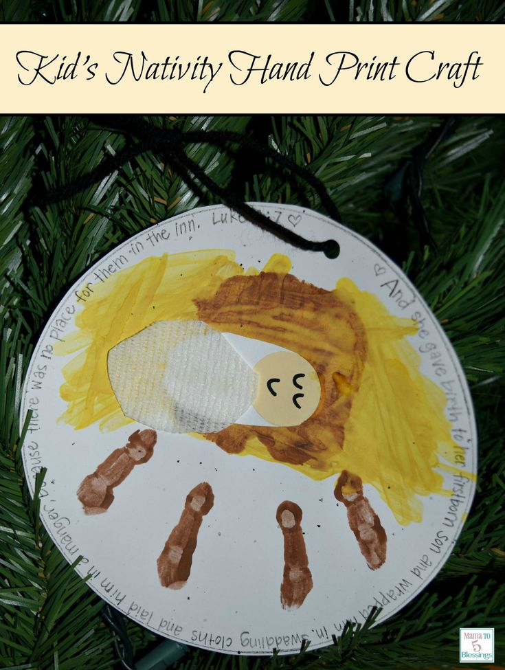 Nativity Hand print ornament craft for kids http://mamato5blessings.com/2014/12/nativity-hand-print-ornament/