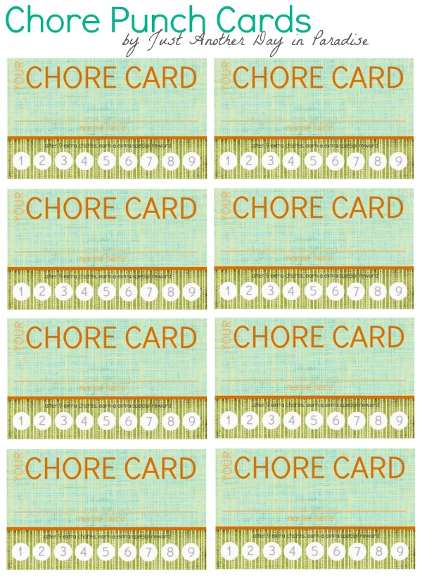 Oh SHUT UP!  Chore cards... a punch card idea for EXTRA chores that the kiddos help you with (on top of the ones they are expected to do anyway).  Not a bad idea ;D