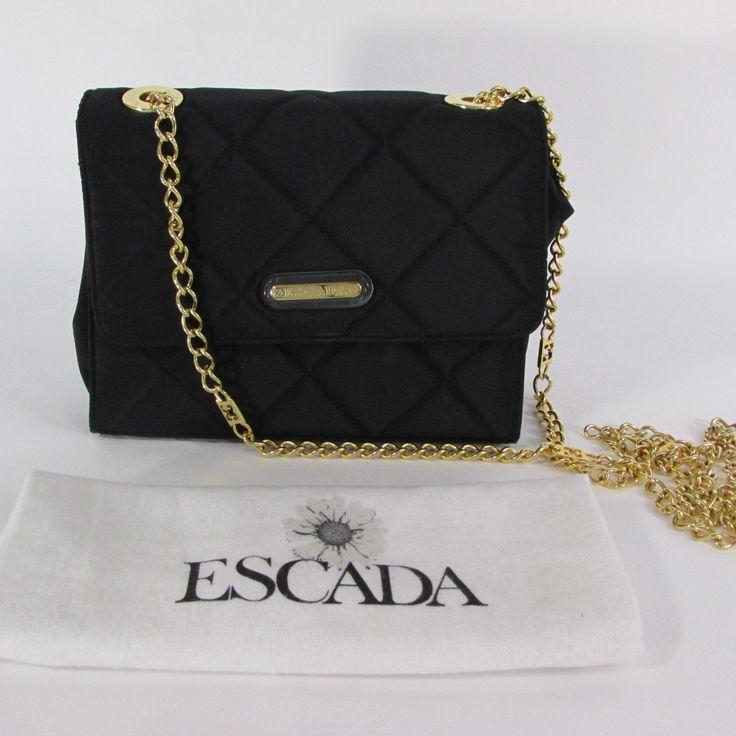 Black Fabric Purse Small Handbag Gold Chain Quilted Bag Authenthic Escada Women Fashion Accessories