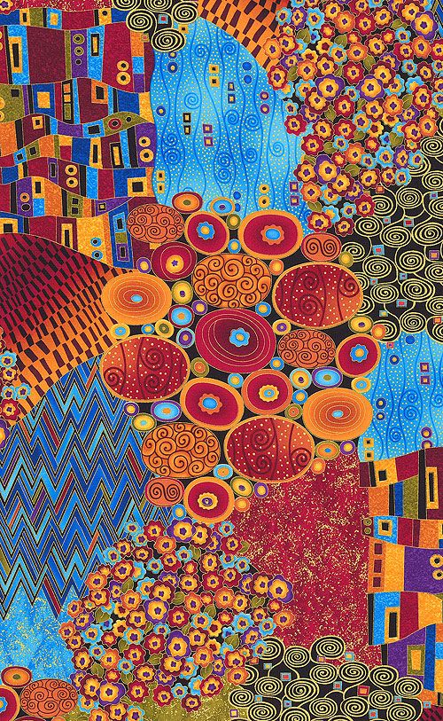 Intrigue - Klimt's Abstract Garden - Quilt Fabrics from www.eQuilter.com