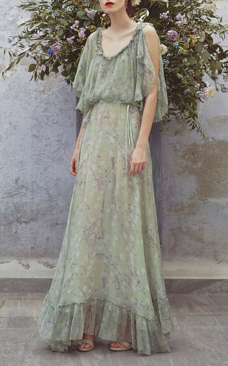 Floral Printed Chiffon Maxi Dress by LUISA BECCARIA for Preorder on Moda Operandi