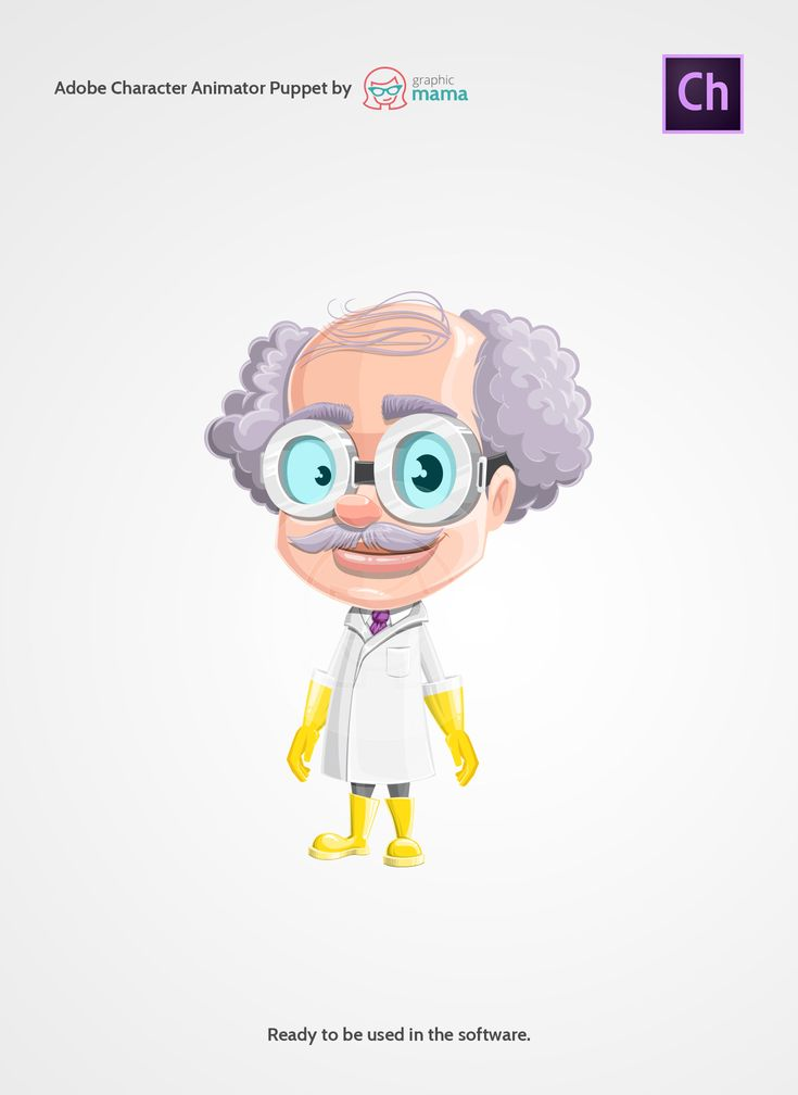 A mad professor character adapted as a puppet for Adobe Character Animator. This professor with glasses and curly hair will look good in any animated video related to the future, innovations, technology, gadgets, science or anything you want, really.