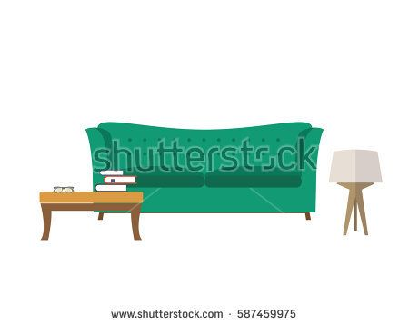 Furniture icon set for living room interior - Vector flat illustration.