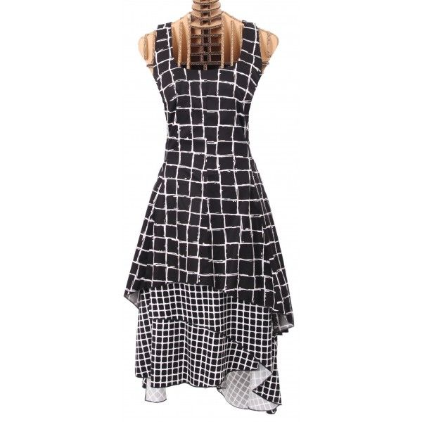 Eternal dress in zwart/witte ruitprint