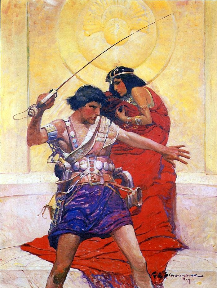 "With my back against a golden throne, I fought once again for Dejah Thoris. Illustration by Frank E. Schoonover for ""A princess of Mars"" (1917)"