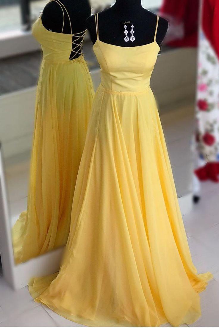 Abendkleid #doppelten #gelbes #langes #mit #Modern Dress prom